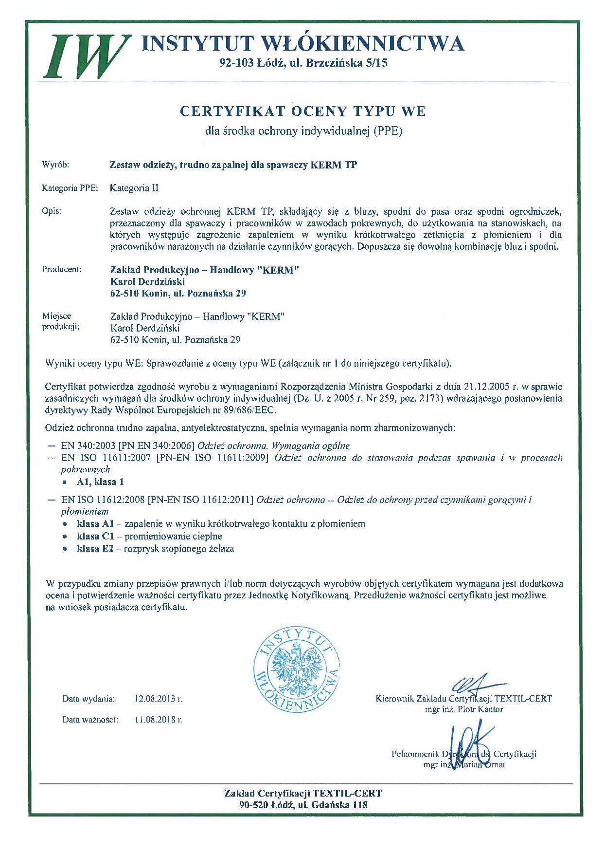 producent-ubranie-ochronne-spawalnicze-trudnopalne-dla-spawacza-kategoria-II-certyfikat